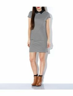 Black Pattern (Black) Cameo Rose Black Stripe Contrast Collar Tunic Dress   309667709   New Look