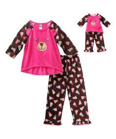 Look what I found on #zulily! Pink & Brown Bear Pajamas & Doll Pajamas - Girls #zulilyfinds