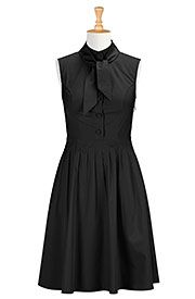 Tie neck poplin dress  on discounted price from eShakti.com. Use coupon and promo codes.