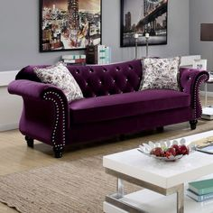 Furniture of America Ileyna Sofa Plum - IDF-6159PR-SF