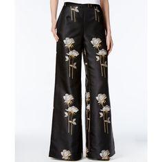 Rachel Rachel Roy Floral-Print Wide-Leg Pants, ($70) ❤ liked on Polyvore featuring pants, black combo, floral print trousers, wide-leg trousers, floral pants, floral print pants and floral printed pants