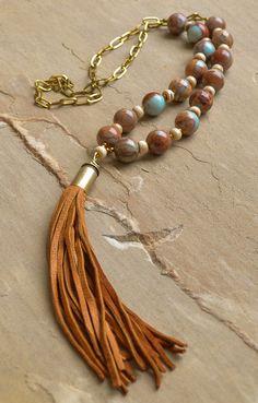 Ethiopian Opal Bullet Shell Tassel Necklace