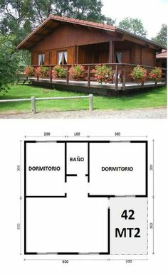 45 Ideas House Country Plans For 2019 Simple House Design, Tiny House Design, Tiny House Cabin, Small House Plans, 2 Bedroom House Plans, Bamboo House, Cabins And Cottages, Log Cabins, Wooden House