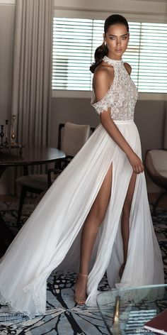 elihav sasson spring 2018 bridal high neck cold shoulder drape sleeves beaded bodice slit skirt a line wedding dress (vj 005) mv modern