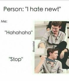 """Read For The Newt Haters from the story The Maze Runner Jokes by (bertha) with reads. Person: """"I hate newt"""" Maze Runner Thomas, Newt Maze Runner, Maze Runner Memes, Newt Thomas, Maze Runner Movie, Dylan Thomas, Thomas Brodie Sangster, Maze Runner Trilogy, Fangirl"""