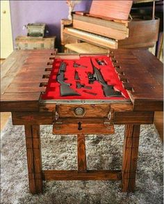 Woodworking Shop Dining Room Table with Secret Compartment for Storing Guns or other Valuables Hidden Compartments, Secret Compartment, Hidden Gun Storage, Secret Gun Storage, Weapon Storage, Hidden Rooms, Table Design, Secret Rooms, Table Storage
