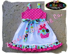 1st Birthday Dress For Baby Girl Polka Dot by ZamakerrClothingCo