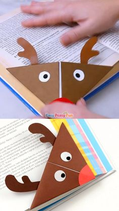 Reindeer Origami Corner Bookmark Reindeer Origami Corner Bookmark This is a super fun project for origami beginners and kids, plus a great little one to encourage reading! Let's make a Rudolph Reindeer origami corner bookmark. Easy Peasy and Fun - Bookmarks Kids, Bookmark Craft, Corner Bookmarks, Origami Bookmark, Bookmark Ideas, Winter Crafts For Kids, Paper Crafts For Kids, Fun Crafts, Art For Kids