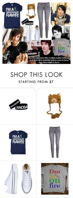 """Danisnotonfire"" by nightmare-child666 ❤ liked on Polyvore featuring H&M and Converse"