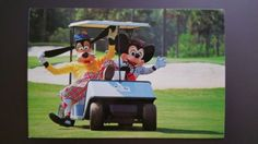 Walt-Disney-World-A-Goofy-Round-of-Golf-w-Mickey-Postcard-Vintage-early-1980s