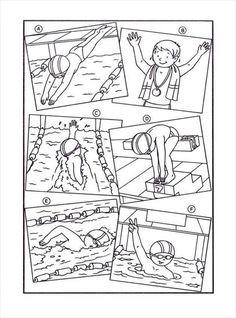 Sports Coloring Pages, Olympic Swimming, Swim Lessons, Prompts, Diagram, Scrapbook, Learning, Pictures, Worksheets