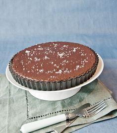 Bittersweet Chocolate Dulce de Leche Tart by @HungryRabbitNYC.