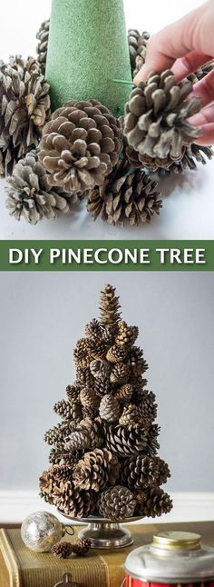 Easy DIY Cheap Christmas Decor-- super easy pine cone tree craft! Lots of craft ideas for adults for the home, for fun, for gifts, to sell and more! Some of these would be perfect for Christmas or other holidays. A lot of awesome projects here! Listotic.com #cheap_crafts_to