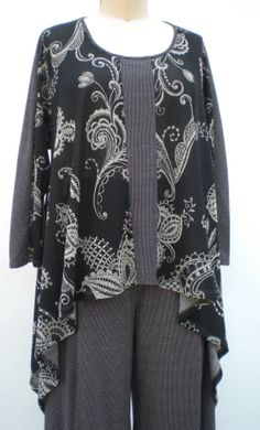 Paisley Angela Top O/S for Plus 1X2X3X Lightweight Cotton Blend Charcoal/Off White