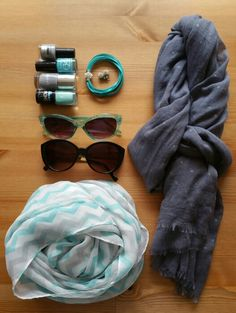 teal and grey accessories