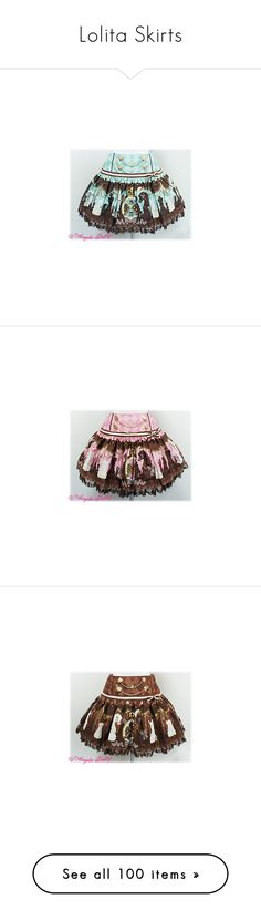 """Lolita Skirts"" by ghiraham-sandwich ❤ liked on Polyvore featuring skirts, lolita, angelic pretty, chess chocolate, bottoms, chocolate brown skirt, chocolate, brown skirt, brown and pink"