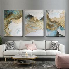 3 pieces gold lines abstract painting canvas wall art pictures for living room wall decor bedroom home decor original acrylic blue texture – Wall Decoration Hall Frames On Wall, Framed Wall Art, Canvas Wall Art, Painting Canvas, Art Deco Wall Art, Canvas Canvas, Art Art, Wall Decor Pictures, Living Room Pictures