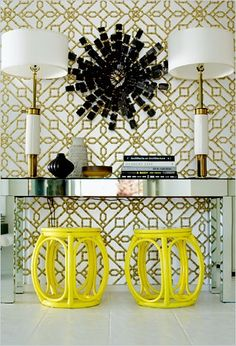 25 Ways to Decorate a Console Table - Again the strong elements in this space make the display feel very symmetrical.   And who doesn't love the punch of yellow?!