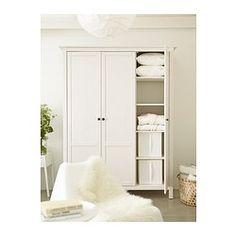 HEMNES 3-ovinen vaatekaappi - valkoiseksi petsattu - IKEA