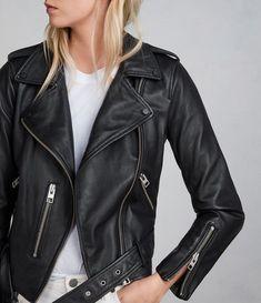 all saints Womens Balfern Leather Biker Jacket (Black) - Image 1 All Saints Leather Jacket, Leather Jacket Outfits, Biker Leather, Black Leather, Sheep Leather, Leather Jackets, Biker Jackets, Biker Jacket Outfit Women, Moto Jacket