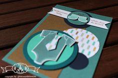 Eine Baykarte mit dem Stempelset #SomethingForBaby  Als Farben wurden verwendet #Lagunenblau, #Kandiszucker, #Marineblau und #Jade