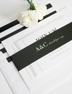 Black and White Wedding Invitation Suite with Stripes - Gorgeous!