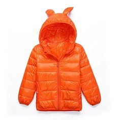 ICOOLYI Boys and Girls Lightweight Down Puffer Jacket Childrens Lovely Warm Coat (110#, Orange) - Brought to you by Avarsha.com