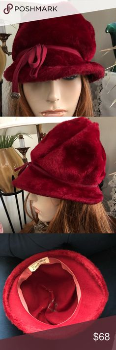 "Vintage Molded Cranberry Beaver Fur Hat This upscale collectible Custom-Made Molded Cranberry Beaver Fur Hat is divine haute couture ~ ENNIS SHOP ~ New London, Conn. Matching thin grosgrain band surrounds the brim w/a floppy bow w jewel-like tips. Inside lined in rose grosgrain ribbon. Inside circum. 21-1/2; crown height 6""; front brim 3"" graduates into a back brim of 1"". In excellent preowned condition. Mannequin for display only & not reflective of how your hat will fit.  Please measure…"