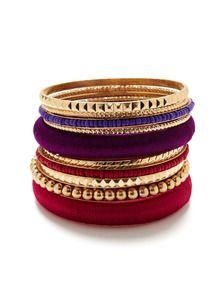 Set Of 10 Purple, Fuchsia, & Gold Bangle Bracelets by R.J. Graziano at Gilt