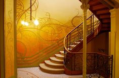 Art nouveau staircase by Victor Horta in Hotel Tassel, Brussel