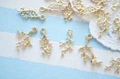 8 pcs  Gold Coral Charm (-28mm) AZ610 by Candydecoholic on Etsy