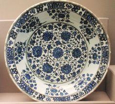 Iznik Plate – Flowers in Cobalt Blue Color  Iznik 16th – Benaki Islamic Museum Greece