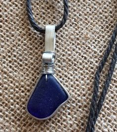 "Sea Glass Jewelry Necklace 18"" Cotton Cord Casual Hawaii Men Women Cobalt Blue  | eBay"