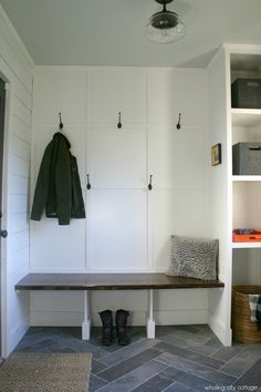 shiplap and slate mudroom - whaling city cottage