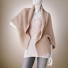 Jennifer Lopez Waffle-Weave Cocoon Wool Cardigan. Super cute!