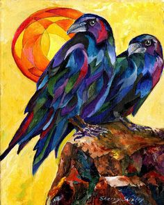 Bird Art Print by Sherry Shipley Raven Pair by sherrysdesigns Crow Art, Raven Art, Bird Art, Crow Painting, Painting & Drawing, Crows Ravens, Architecture Tattoo, Funny Art, Oeuvre D'art