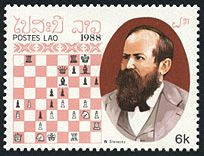 Anderssen v Steinitz, Vienna, 1873 This game is hardly Steinitz's best, despite the strong opponent. The game illustrates Steinitz's positional understanding; Anderssen's queen is structurally out-of-play as early as move 22.