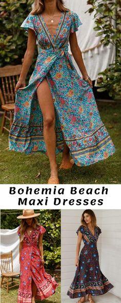 167d6eef36 Bohemia V-neck Printed Beach Maxi Dresses