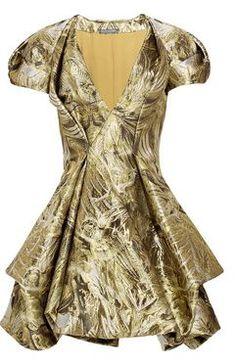 alexander mcqueen gold dress