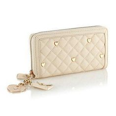 xxlittlepinkbowtiexx's save of Floozie by Frost French Cream Large Quilted Heart Stud Purse - Purses - Handbags & purses - Women - Debenhams Mobile on Wanelo