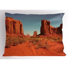 Desert Pillow Sham Sunny Hot Day in Monument Valley Arid Country Navajo Nation Arizona USA, Decorative Standard King Size Printed Pillowcase, 36 X 20 Inches, Dark Orange Pale Blue, by Ambesonne