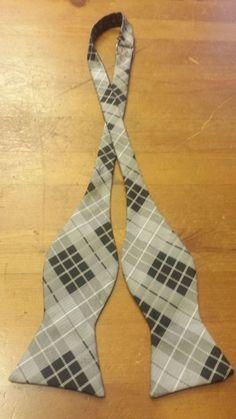 "Brand Q, Microfiber, Black/Gray/White, Plaid Print, Adjustable Bow Tie (2-1/2"") #BrandQ #BowTie"