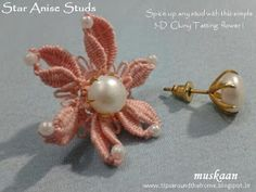 Free pattern for tatted earrings. Star Anise Studs free pattern . Cluny tatting free pattern