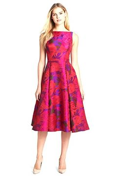 Adrianna Papell Women's Sleeveless Floral Tea Dress 6 Magenta. Dry clean only. Imported. Sleeveless. Pleated skirting. A-line silhouette.