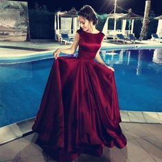 Sexy Long Satin Backless Prom Dresses Ball Gowns Evening Dresses