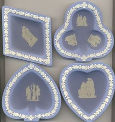 """Set of four perfect Wedgwood ashtrays. About 5"""" long."""