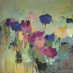 Galleri - Kari Glesnes Jørgensen Seascape Paintings, Watercolor Paintings, Abstract Canvas Art, Arte Floral, Abstract Flowers, Pottery Art, Floral Watercolor, Painting & Drawing, Flower Art