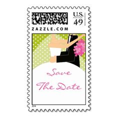 Green Bride  Groom Save the Date Stamp