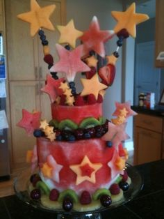 Fruit cake with berries, watermelon cake, with fruit decor like melon stars and kiwi, strawberries and more! Awesome!