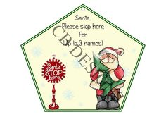 Santa Stop Here sign. Personalised up to 3 names. Satin ribbon supplied to hang your sign.